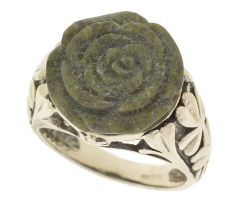 connemara marble connemara marble sterling silver carved ring qvc