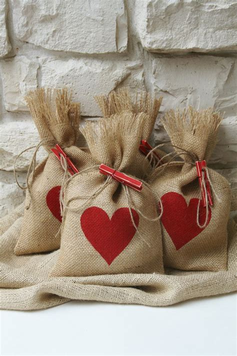 burlap gift bags valentines day shabby chic wedding red