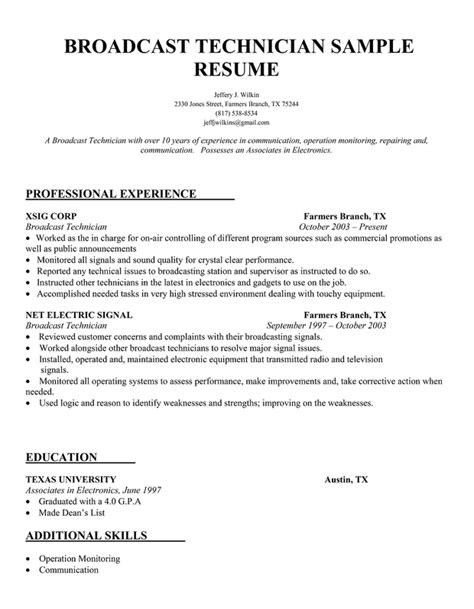 Broadcast Engineering Sle Resume by Sound Technician Resume Sales Technician Lewesmr