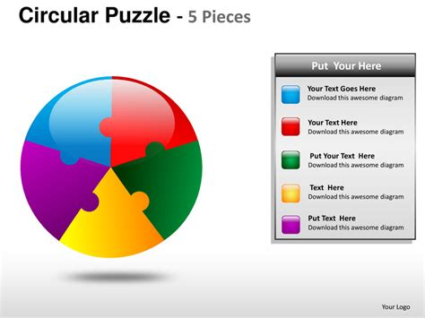 5 themes powerpoint presentation circular puzzle 5 pieces powerpoint presentation templates