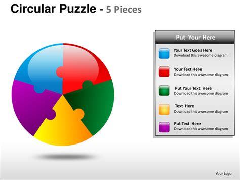 circular puzzle 5 pieces powerpoint presentation templates