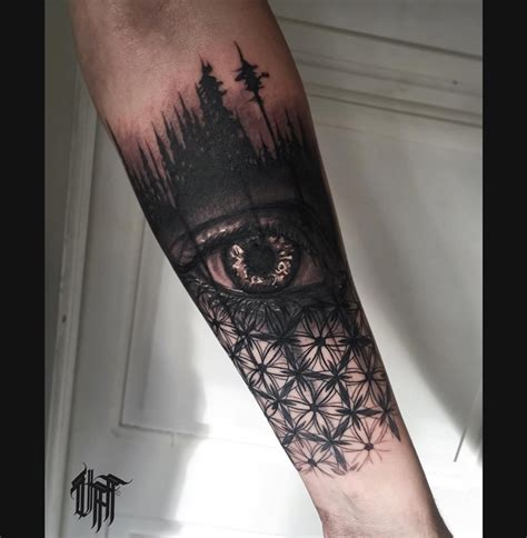 trees eye and geometric pattern best tattoo design ideas