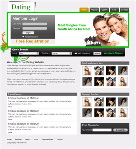 online dating software templates