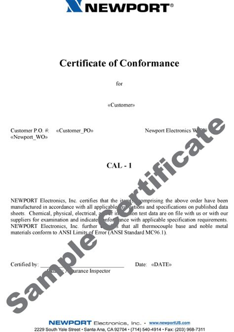 certificate of manufacture template factory calibrations for sensors wire instruments
