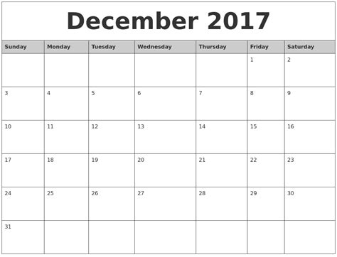 printable calendar template december 2017 december 2017 monthly calendar printable