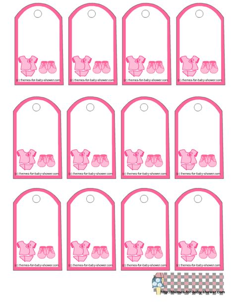 free printable pink baby shower favor tags