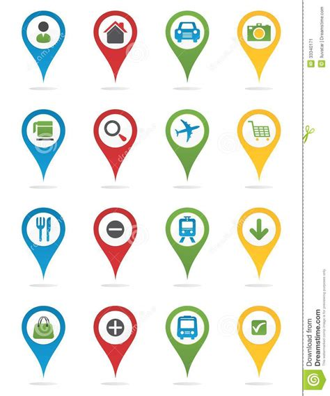 Floor Plan Template map pins with icons stock image image 33340171