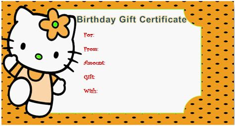 gift certificate for kids gift certificate templates