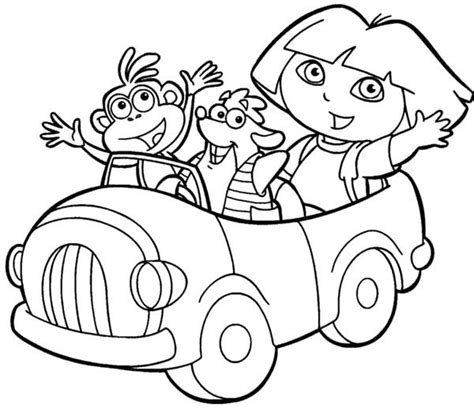 coloring pictures of dora and friends dora and friends ride cars coloring pages ra floor dec