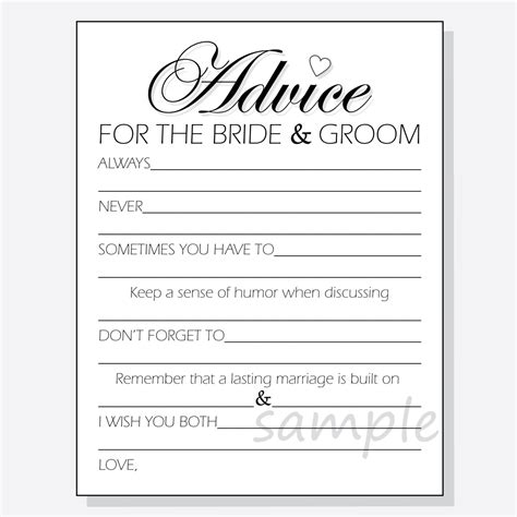 templates for wedding advice cards 2 diy advice for the groom printable cards for a shower