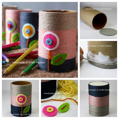 How To Make A Pencil Holder With Paper - wonderful diy yarn pencil holder from paper rolls