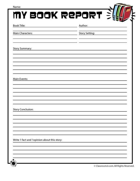 book report middle school printable book report forms school levels leveled