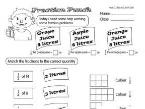 fraction punch a year 3 fractions worksheet