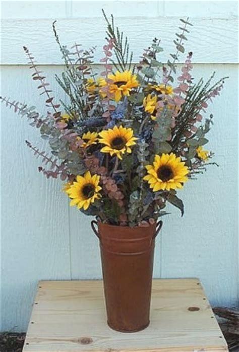 Short Vases Sunflower And Eucalyptus Bucket Floral Arrangements