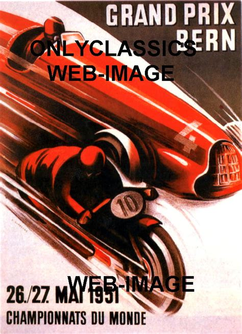1951 swiss grand prix motorcycle amp auto racing car poster