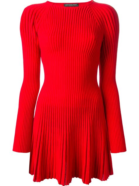 ribbed knit dress mcqueen ribbed knit dress in lyst