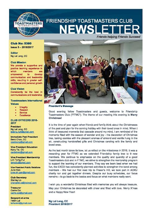 club newsletter templates friendship toastmasters club newsletter issue 5 2016 2017