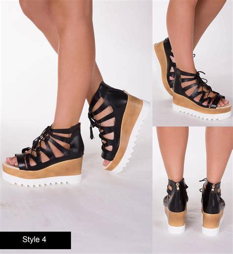 Wedges Karet 3 Cm new black white summer sandal wedge high heel shoe size 3 4 5 6 7 8 ebay