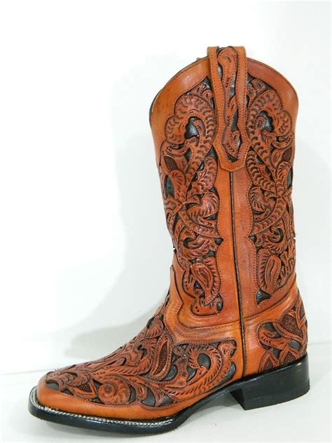 custom mens cowboy boots crafted tooled and inlayed cowboy boots