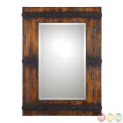 Vanity Mirror Rustic Stockley Country Barn Door Inspired Wood Mirror With