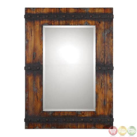 stockley country barn door inspired wood mirror with - Rustic Mirrors