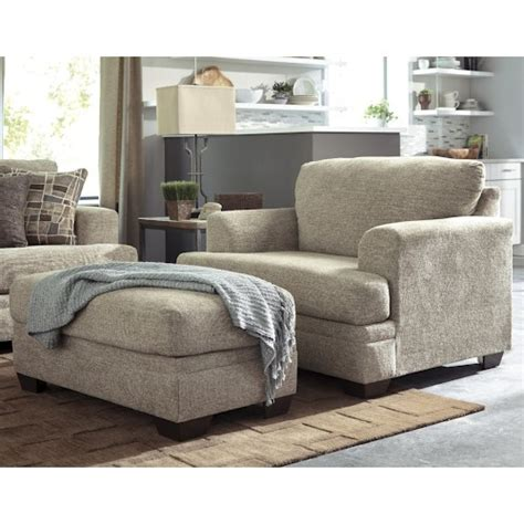 living room chair ottoman benchcraft barrish contemporary chair and a half ottoman