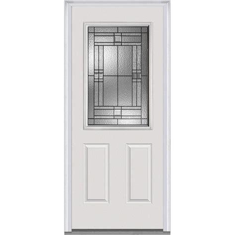 Decorative Glass Panels For Doors Milliken Millwork 37 5 In X 81 75 In Decorative Glass 1 2 Lite 2 Panel Primed Fiberglass