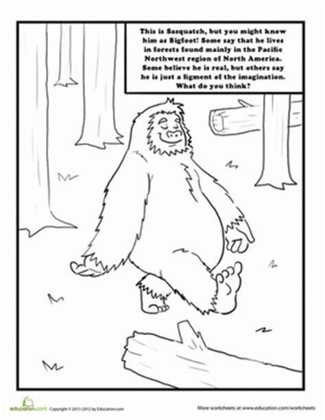 Sasquatch Worksheet Education Com Bigfoot Coloring Pages