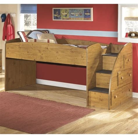 Stages Loft Bed by Stages 3 Drawer Wood Right Loft Bed In Brown