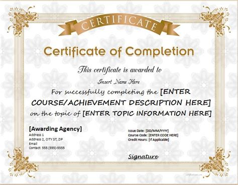 certificate of successful completion template certificates of completion templates for ms word