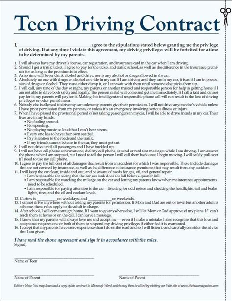 Agreement Letter For Driver parent driving contract will tubezzz photos