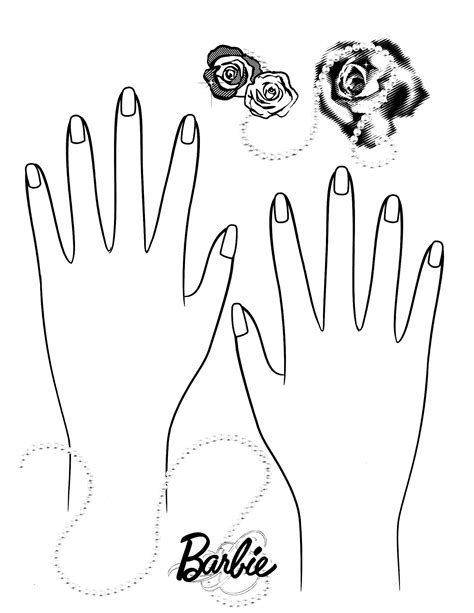 coloring pages of hands with nails barbie 30 coloringcolor com