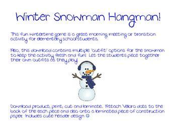 winter snowman ela hangman game  missvericker tpt