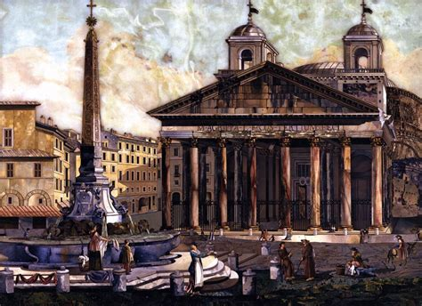 the in rome in the masters of rome view of the pantheon in rome by unknown master italian