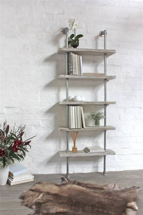 robyn white washed wood and steel bookcase by urban grain