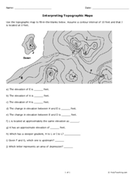 Topographic Map Practice Worksheet by Interpreting Topographic Maps Grade 10 Free Printable