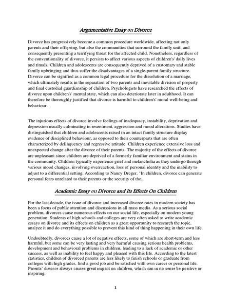 Argumentative Essay About Marriage by Argumentative Essay On Divorce Divorce Adolescence