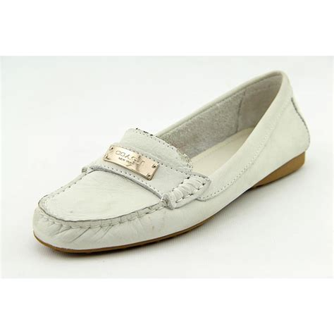 white coach loafers coach fredrica womens size 6 white nubuck leather loafers