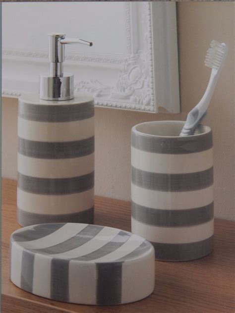 grey or aqua blue white striped 3 bathroom set soap dispenser dish tumbler ebay