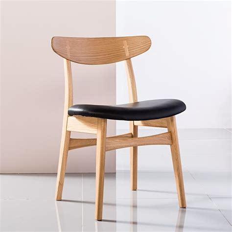 Top Grain Leather Dining Chairs Astrid Solid Oak Dining Chair Black Top Grain Leather Seat Icon By Design