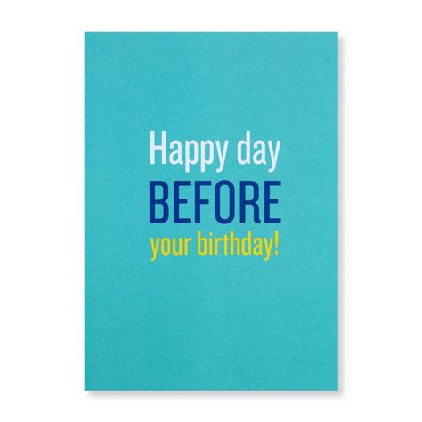 The Day Before happy day before your birthday greeting card
