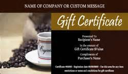 coffee shop and cafe gift certificate templates easy to use gift certificates