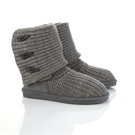 womens gray slippers bearpaw s gray knit slipper boot