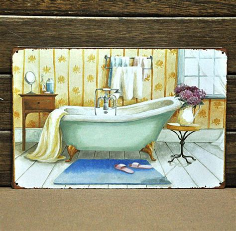 paintings for the bathroom mike86 vintage bathtub metal signs wall decorative