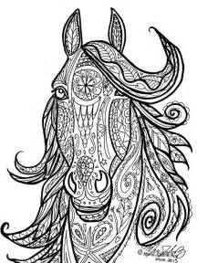 horse tribal head art marie justine roy color horse illustrators