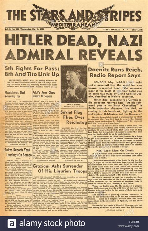 hitler biography death 1945 stars and stripes front page reporting the death of