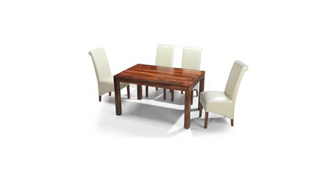 cuba sheesham 140 cm dining table and 4 chairs lifestyle