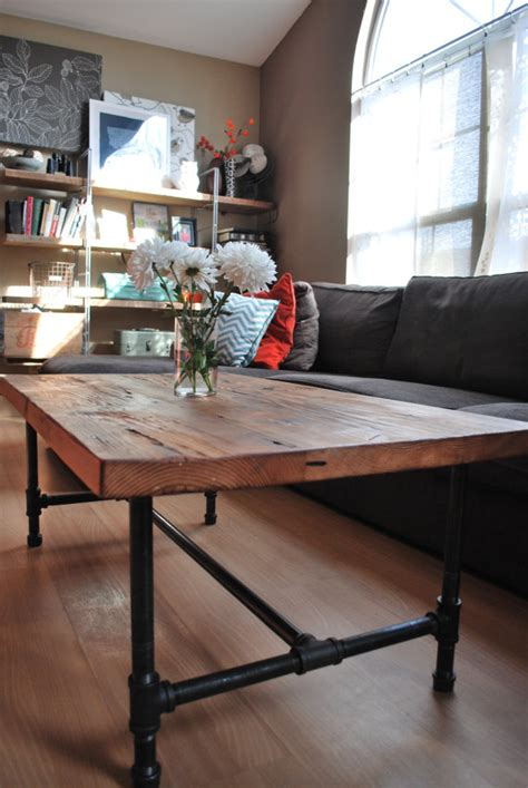 Pipe Leg Coffee Table Wood Coffee Table With Steel Pipe Legs Made Of Reclaimed Wood