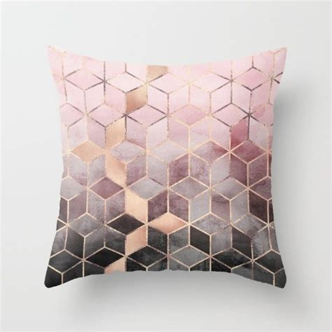 pink bedroom cushions pink and grey gradient cubes throw pillow by elisabeth