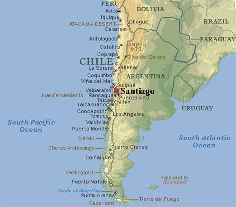 santiago chile on world map map of santiago chile